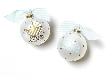 Welcome Little One Carriage Glass Ornament - Blue collection with 1 products