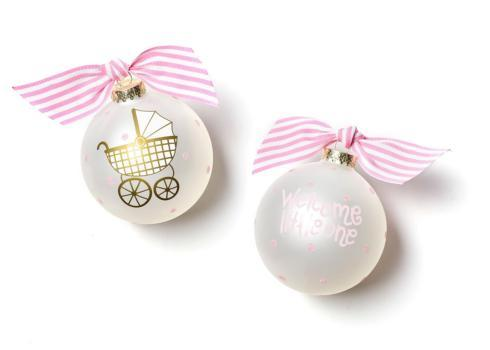 Coton Colors  Baby Ornaments Welcome Little One Carriage Glass Ornament - Pink $23.95