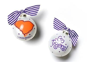 Clemson University Glass Ornament - State collection with 1 products