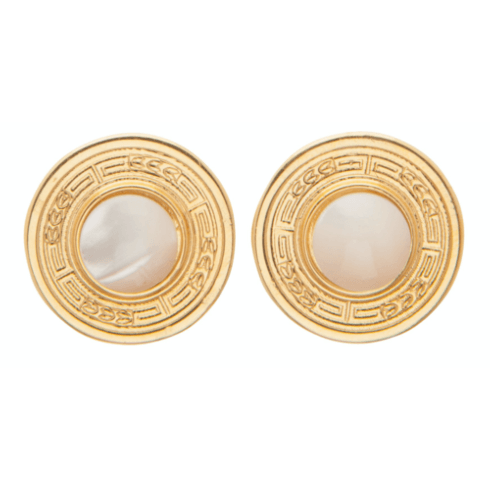 $78.00 Athena Small Gold Stud - Mother of Pearl
