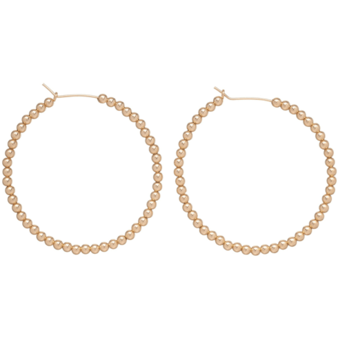 "$78.00 Beaded Gold 3mm 1.75"" Hoop"