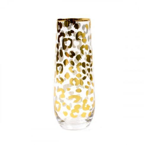 $13.00 Stemless Champagne Gold Leopard
