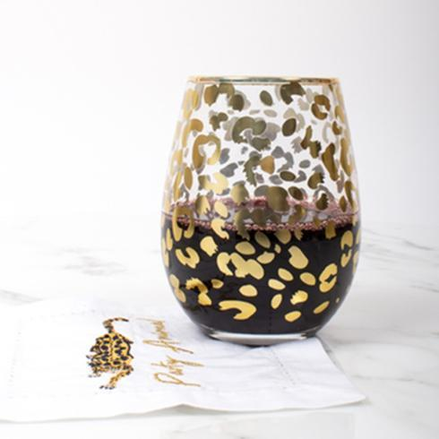 $15.00 Stemless Wine Gold Leopard