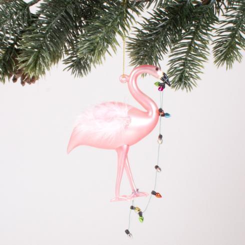 $15.00 Flamingo Lights Glass Ornament