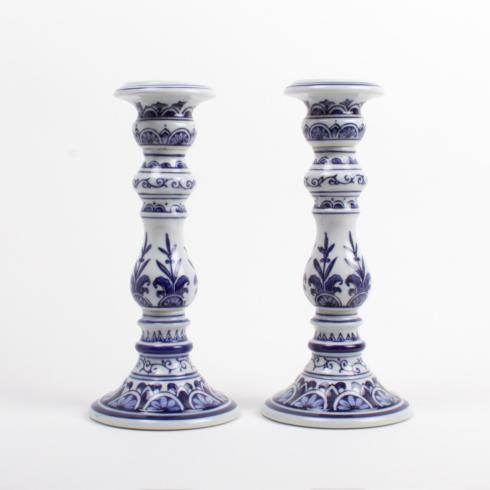 $72.00 2 PC Large Candlestick Set-Blue