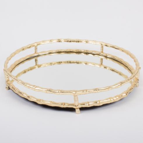 $90.00 Gold Bamboo Round Mirrored Tray