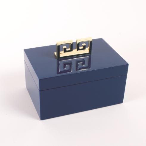 $80.00 Jewelry Box Blue Lacquer Greek Key
