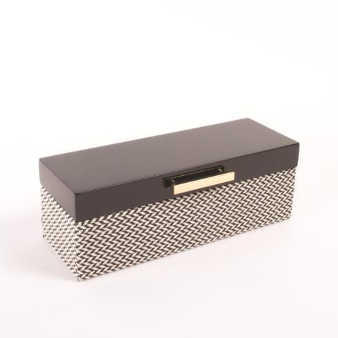 $72.00 Jewelry Box Black Lacquered Chevron