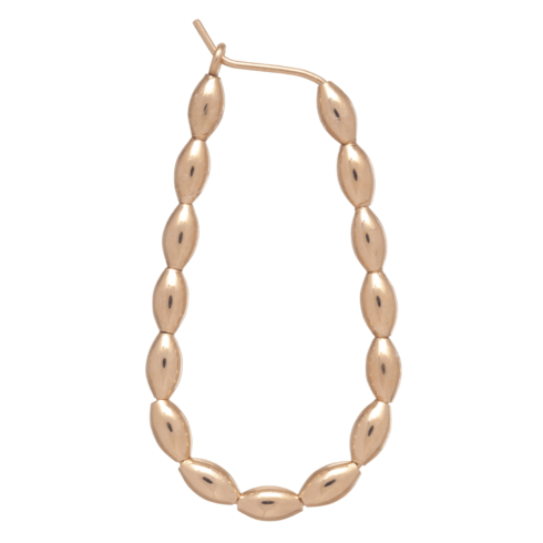 "$72.00 Beaded Oval Gold 1.25"" Hoop - H"