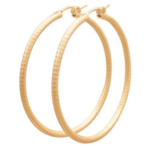 """$54.00 Round Gold 2"""" Hoop - Textured"""