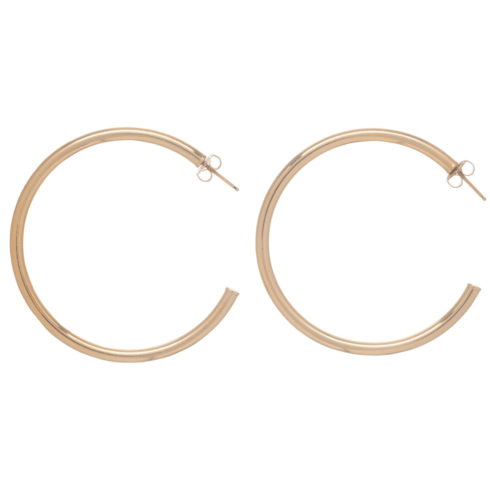 """$105.00 Round Gold 2"""" Post Hoop - 4mm - Smooth"""