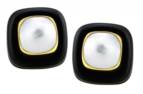 $1,350.00 Onyx and Mabe Pearl Earring with Gold Bezel