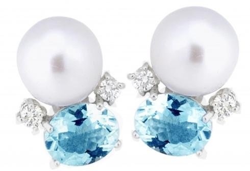 $2,690.00 Aquamarine and Pearl Earrings with .40pts Diamonds