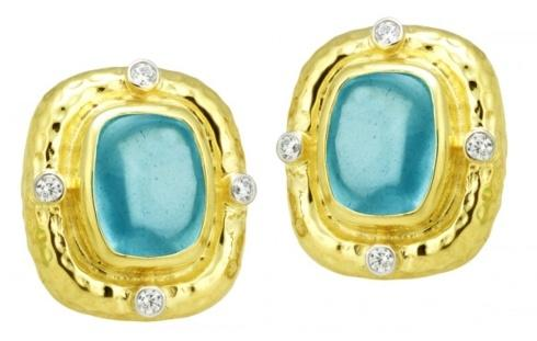 $3,880.00 Hammered Aquamarine Buff Cut Cabochon Earrings with .32pts Diamonds