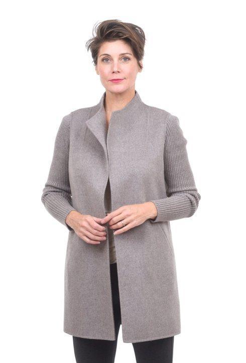 Rib Sleeve Coat- Grigio - Medium