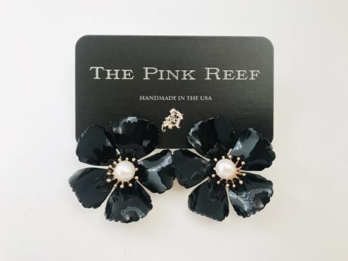Large Black Hand Painted Floral with Pearl Earring collection with 1 products