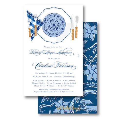 $20.00 Blue Plates Vertical Boxed Invite