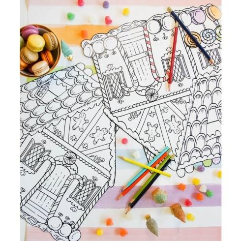 $29.00 Die-Cut Gingerbread House Coloring Placemat - set of 12