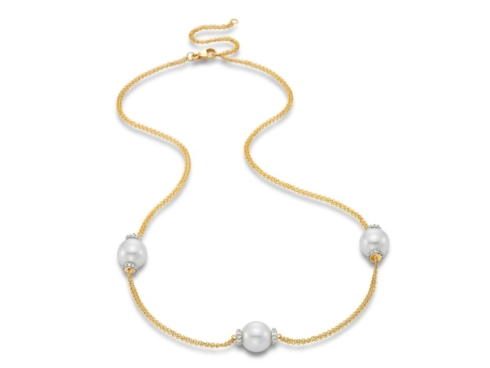 $2,095.00 Three Pearl Station Necklace