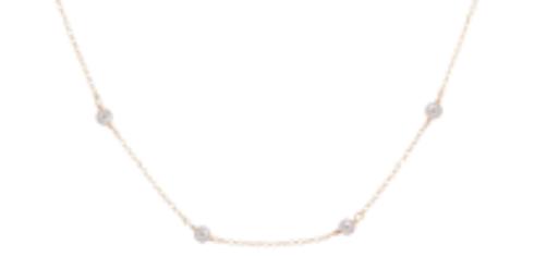 "$75.00 15"" Choker Simplicity Chain Gold - 4mm Bead Pearl"
