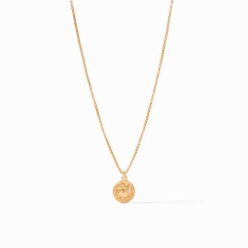 $135.00 Necklace-Gold Zircon Coin Charm