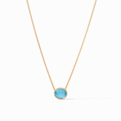 $135.00 Verona Solitaire Necklace Iridescent Pacific Blue