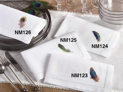 $14.00 Multi Feather Hemstitch Napkin