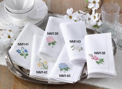 $14.00 Embroidered Magnolia Hemstitch Napkin