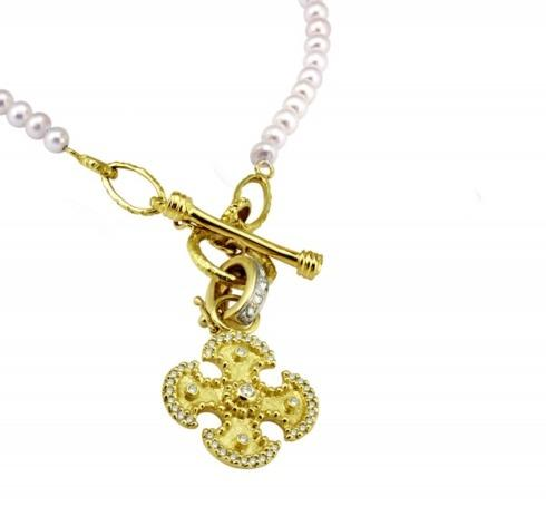 $2,250.00 Maltese Cross Pendant with .46pts Diamonds and Pearl Toggle Necklace with Gold Links