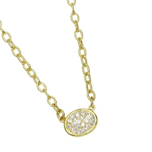 $1,350.00 Small Oval Pave Necklace with .23pts Diamonds