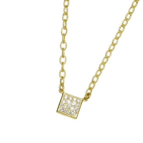 $1,300.00 Small Square Pave Necklace with .23pts Diamonds
