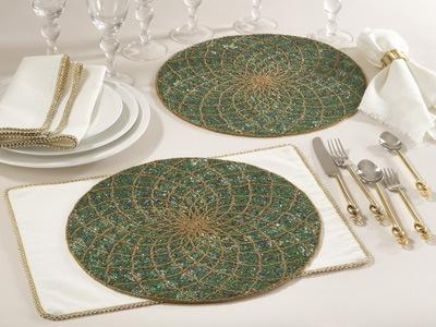 $34.00 Teal Beaded Design Placemat