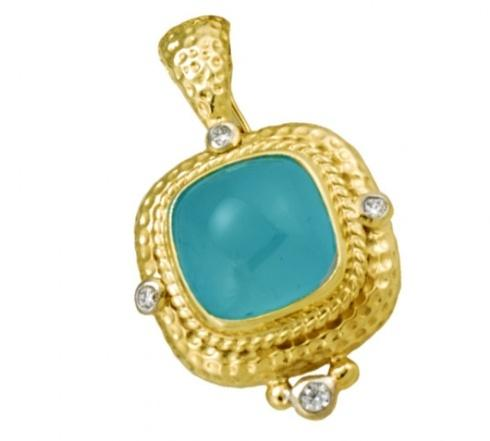 $3,800.00 20ct Aquamarine Cabochon Pendant with .25pts Diamonds