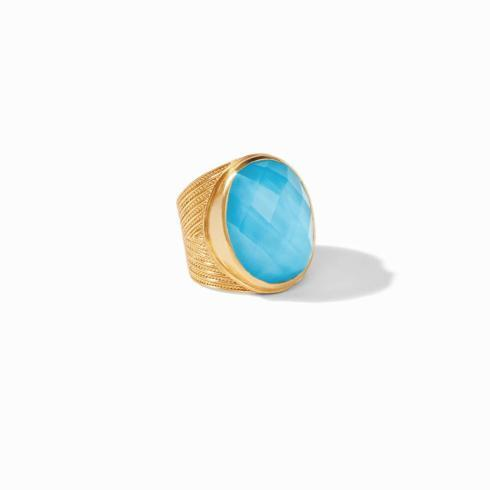 $185.00 Verona Statement Ring Iridescent Pacific Blue, Size 8