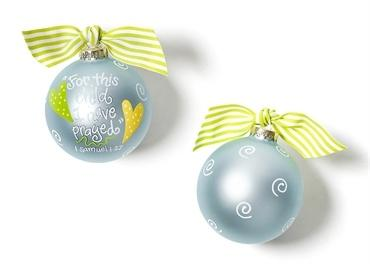 For This Child I Have Prayed Glass Ornament - Blue collection with 1 products