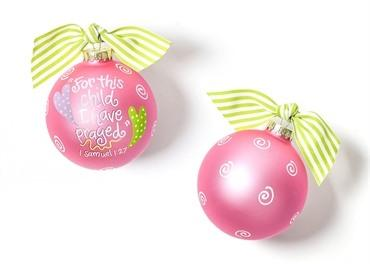 For This Child I Have Prayed Glass Ornament - Pink collection with 1 products