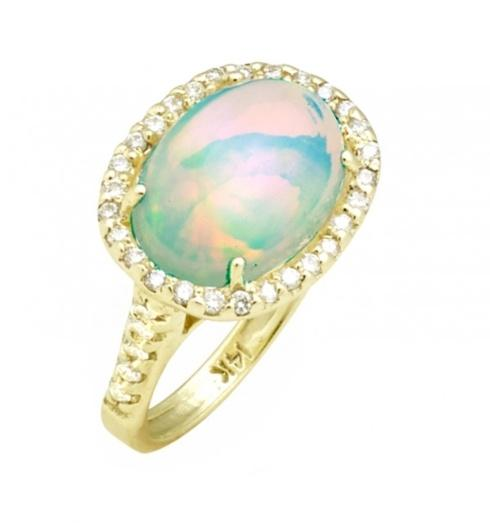 $2,900.00 East to West 4ct Ethiopian Opal Ring with .48pt Diamond Halo