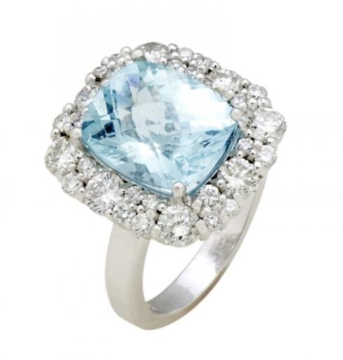$7,400.00 White Gold 4.82ct Checkerboard Aquamarine Ring with 1.80cts Diamonds