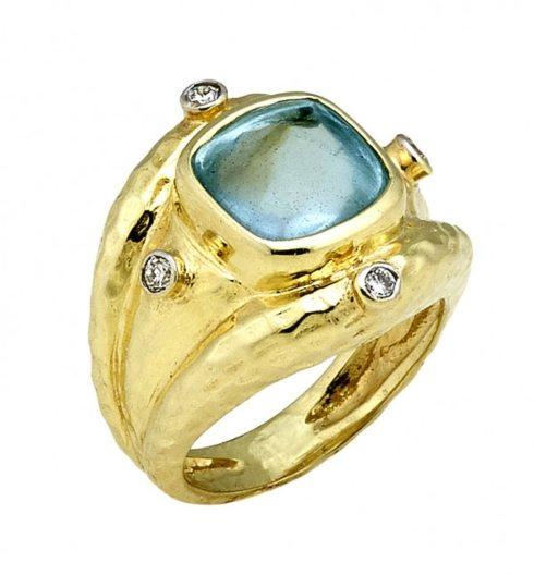 $2,300.00 Aquamarine Buff Top Cabochon Ring with Hammered Texture and .16cts Diamonds