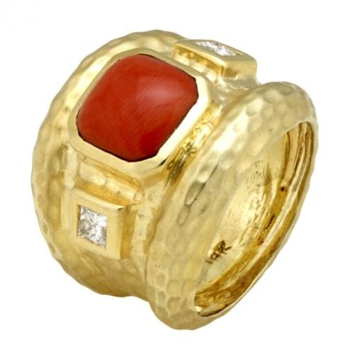 $4,100.00 Meditteranean Red Coral Ring with Hammered Texture and .30cts of Princess Cut Diamonds