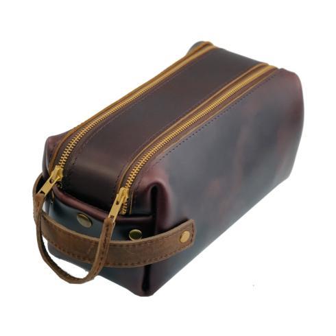 $127.50 Leather Dopp Kit -Burgundy