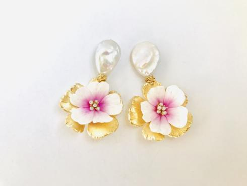 Pearl and Pink Floral Drop Earring collection with 1 products
