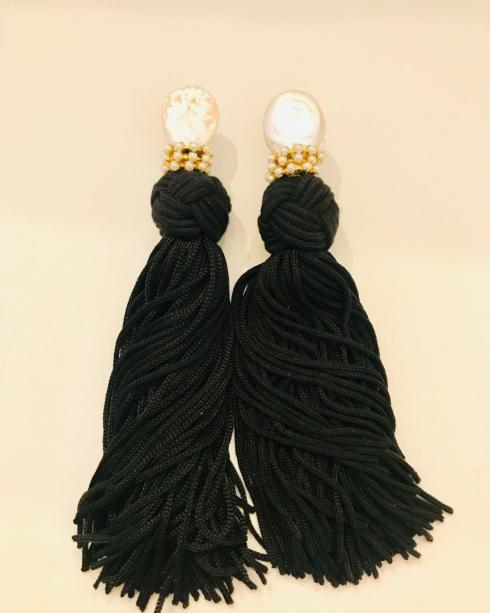 Silky Black Tassel Earring collection with 1 products
