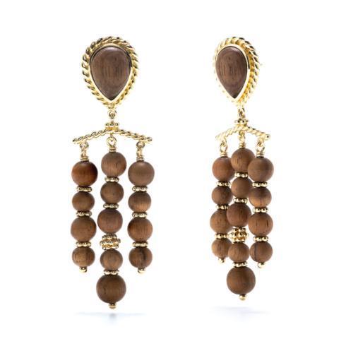 $135.00 Earth Goddess Chandelier Teak  Earrings