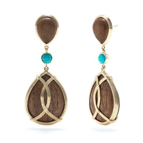 $148.50 Monique Teak & Turquoise Tear Drop Earrings
