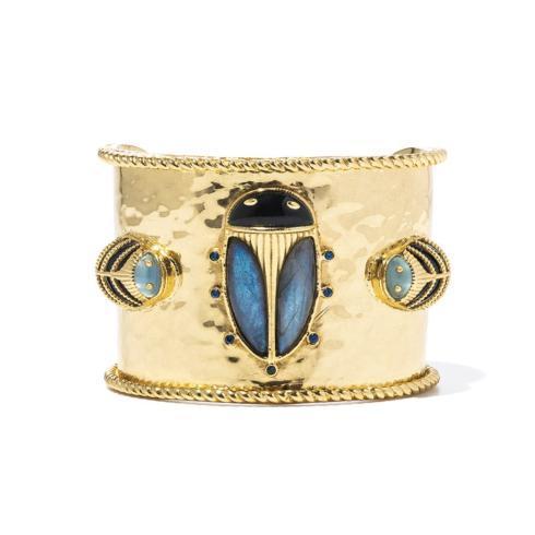 $350.00 Black Agate & Blue Labradorite Scarab Cuff