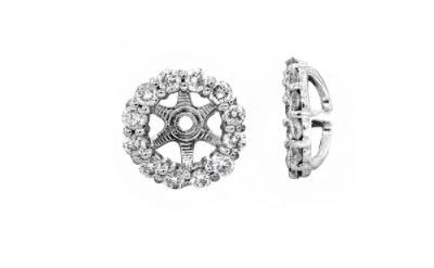 $1,100.00 14K White Gold Diamond Earring Jackets
