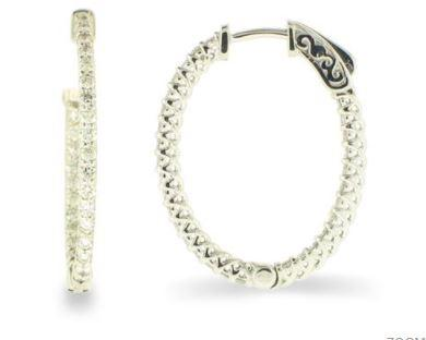 $2,685.00 14K White Gold Diamond Hoop Earrings
