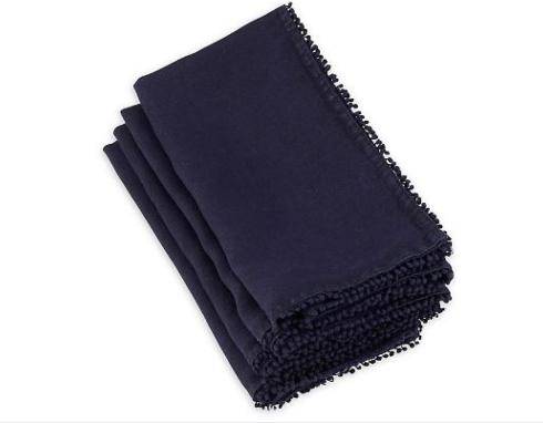 $13.00 Pom Pom Napkin Midnight Blue