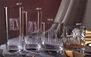 J. Charles Crystal Works   Icetea 15oz Set of 4 W/Monogram $51.00